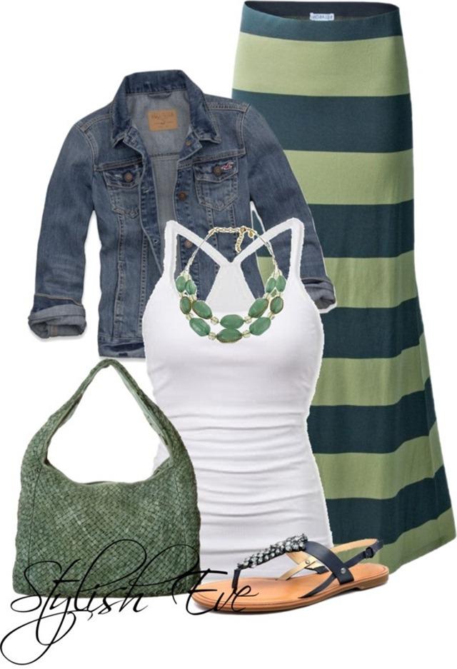 Summer Maxi Skirt and Denim Jacket