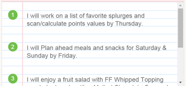 Weight Watchers Action Plan Snippet