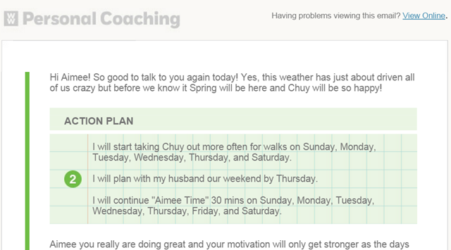 Weight Watchers Personal Coaching Action Plan