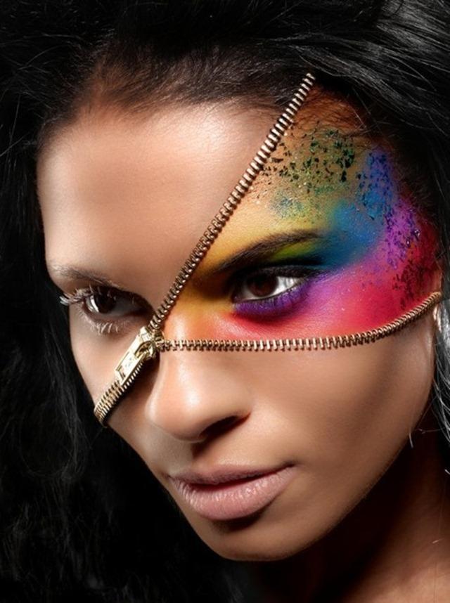 Crazy Halloween Makeup Rainbow Zipper Face